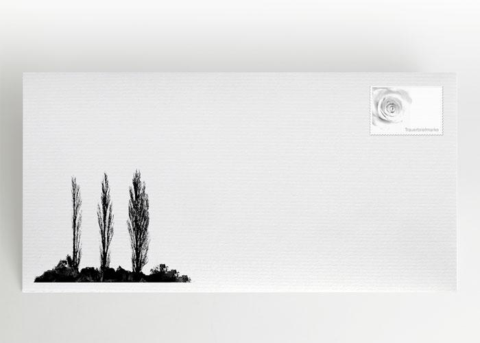 Drei einzelne Pappeln - Briefumschlag Motiv F-06