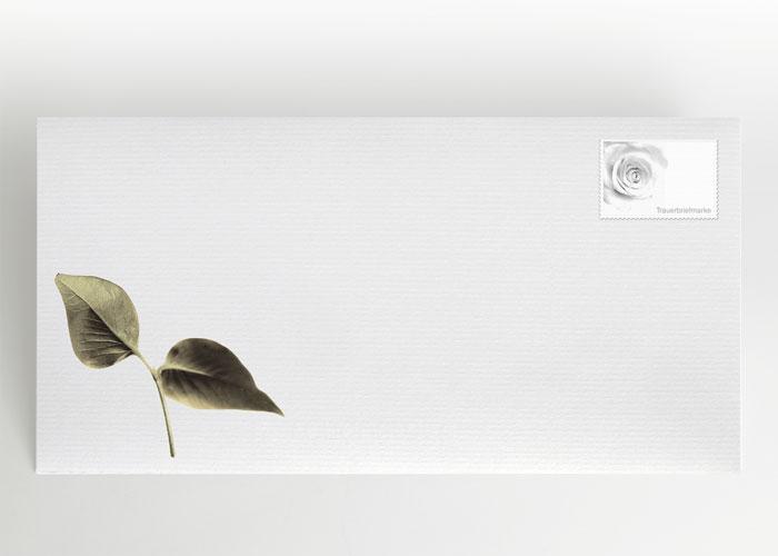Kleiner Ast mit zwei Blättern - Briefumschlag Motiv F-32