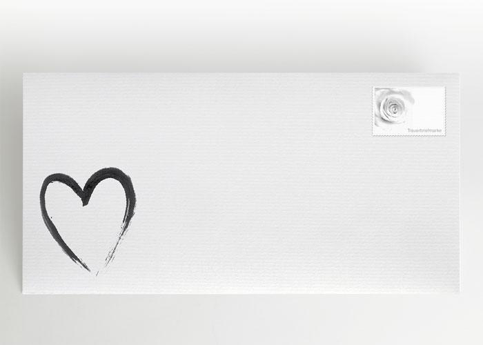 Mit Tusche gezeichnetes Herz - Briefumschlag Motiv S-08