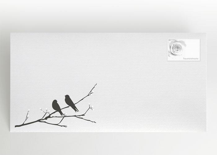2 Vögel auf einem Ast - Briefumschlag Motiv S-14