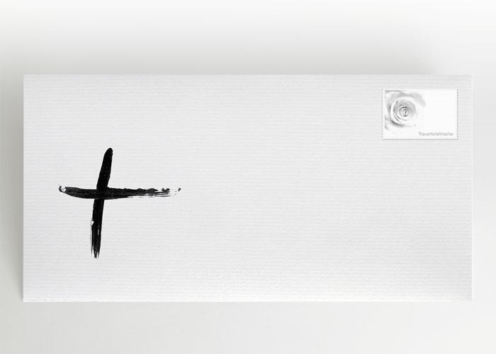 Tuschezeichnung eines Kreuzes - Briefumschlag Motiv S-27