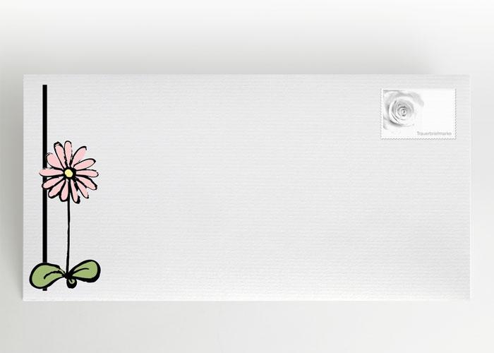 Gezeichnete Blume - Traueranzeige Motiv S-45