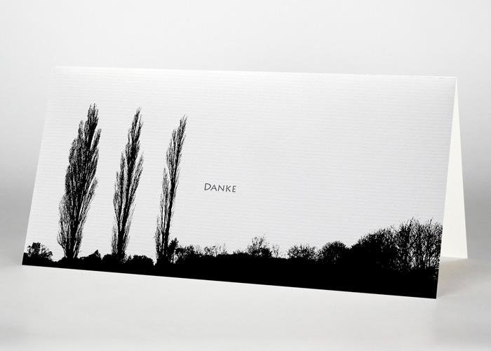 Drei einzelne Pappeln - Danksagungskarte Motiv F-06