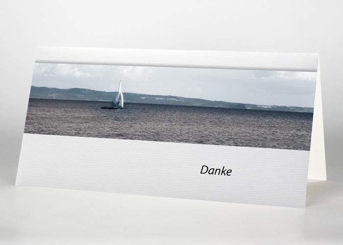 Segelboot im Meer - Danksagungskarte Motiv F-23
