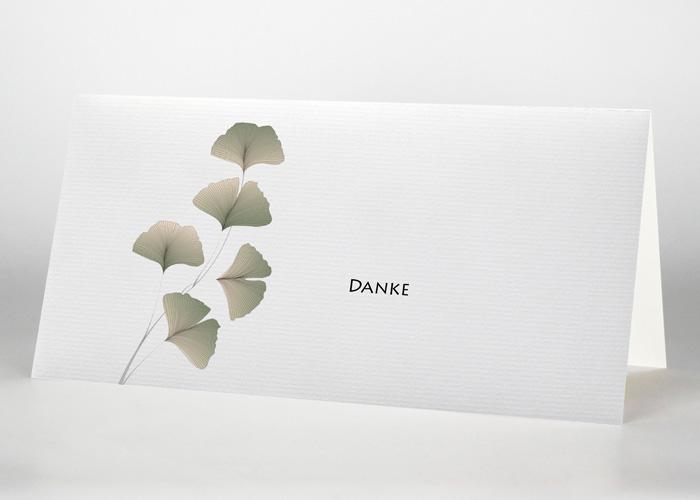 5 Ginkoblätter - Danksagungskarte Motiv F-29