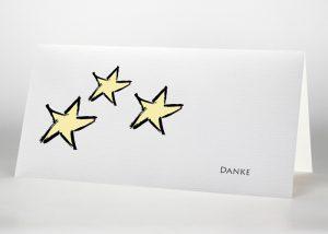 Drei Sterne - Danksagungskarte Motiv S-03
