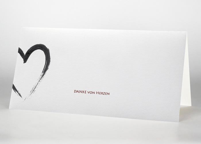 Mit Tusche gezeichnetes Herz - Danksagungskarte Motiv S-08