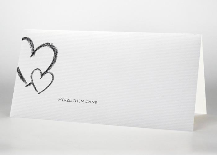 Großes und kleines Herz - Danksagungskarte Motiv S-09