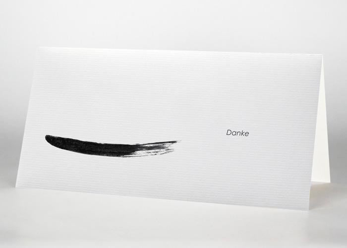 Mit Tusche gezeichneter Strich - Danksagungskarte Motiv S-11