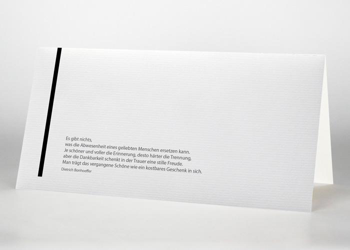 Senkrechte schwarze Trauerlinie - Danksagungskarte Motiv S-12