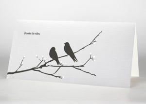2 Vögel auf einem Ast - Danksagungskarte Motiv S-14