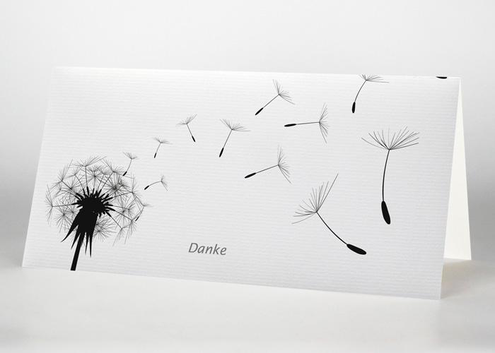 Pusteblume mit wegfliegenden Sporen - Danksagungskarte Motiv S-15