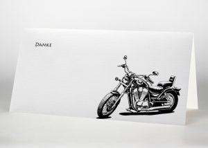Gezeichnetes Motorrad - Danksagungskarte Motiv S-19