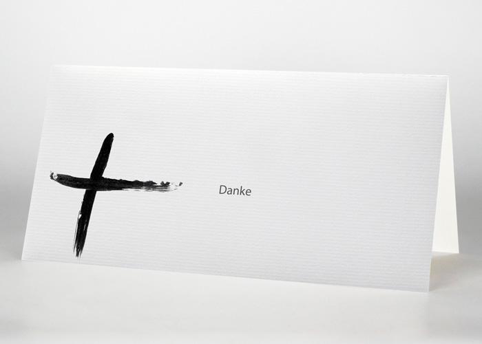 Tuschezeichnung eines Kreuzes - Danksagungskarte Motiv S-27