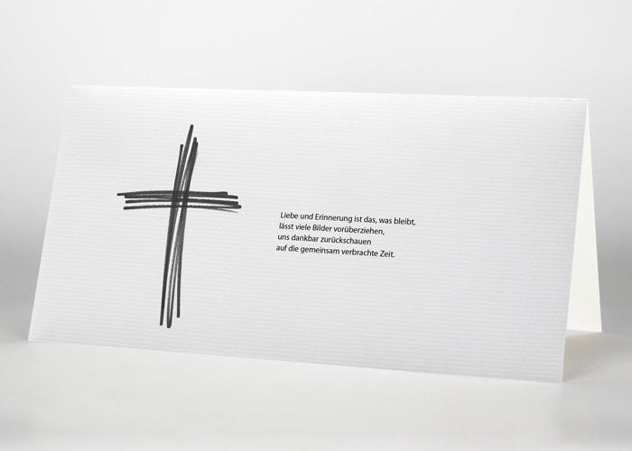 Aus Strichen gestaltetes Kreuz - Danksagungskarte Motiv S-29