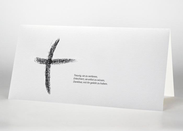 Kreuz Kohlezeichnung - Danksagungskarte Motiv S-32