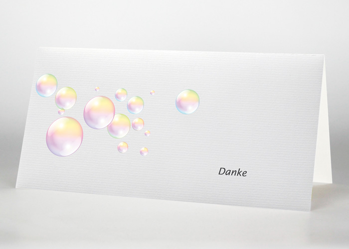 Schillernde Seifenblasen - Danksagungskarte Motiv S-44