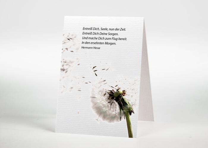 Pusteblume mit wegfliegenden Samen - Sterbebildchen Motiv B-19