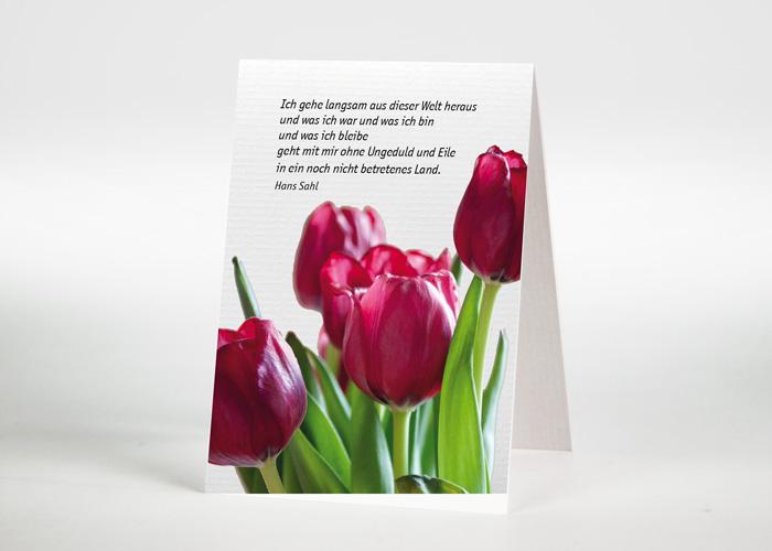 Ein Strauß Tulpen - Sterbebildchen Motiv B-35