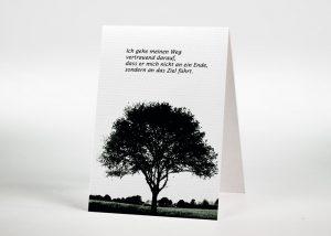 Eine einzelne Buche auf einer Lichtung - Sterbebildchen Motiv F-09