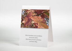 Bunte Herbstblätter - Sterbebildchen Motiv F-36