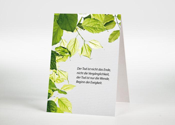 Zweige mit grünen Blättern - Sterbebildchen Motiv F-42