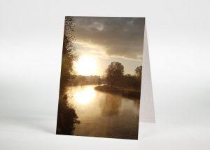 Flussbiegung im Sonnenuntergang - Sterbebildchen Motiv F-49