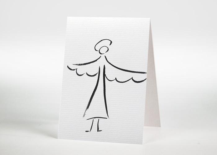 Engel mit ausgebreiteten Flügeln - Sterbebildchen Motiv S-04