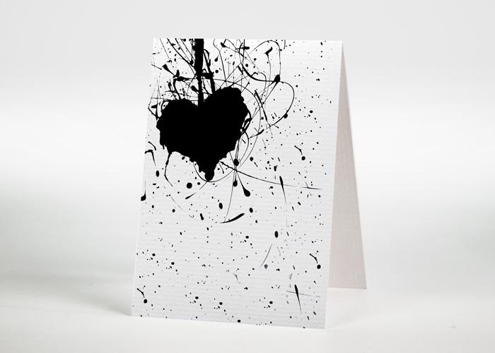 Herz mit Strichen und Punkten - Sterbebildchen Motiv S-06