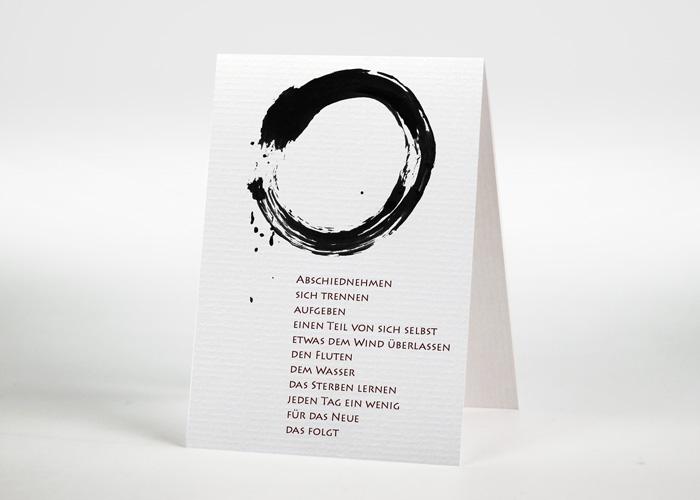 Mit Tusche gezeichneter Kreis - Sterbebildchen Motiv S-07