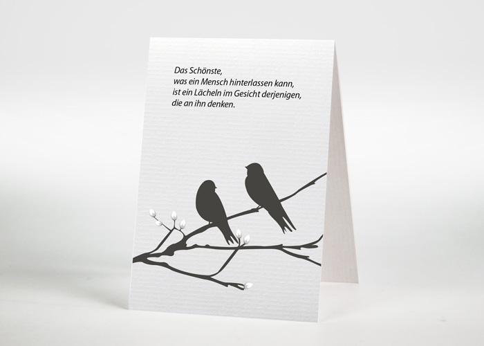 2 Vögel auf einem Ast - Sterbebildchen Motiv S-14
