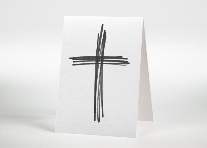 Aus Strichen gestaltetes Kreuz - Sterbebildchen Motiv S-29