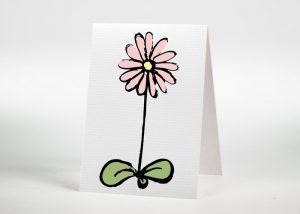 Gezeichnete Blume - Sterbebildchen Motiv S-45