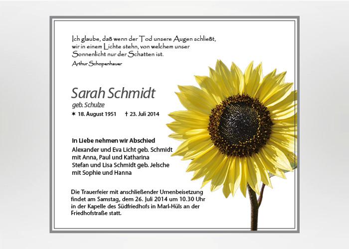 Sonnenblume - Traueranzeige Motiv B-09