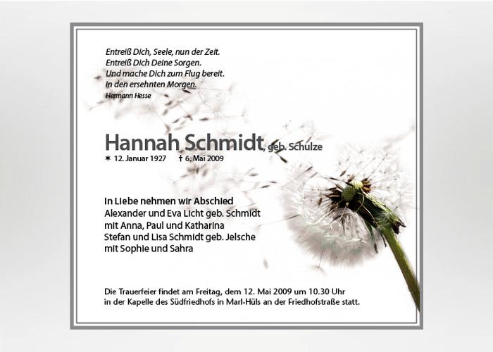 Pusteblume mit wegfliegenden Samen - Traueranzeige Motiv B-19