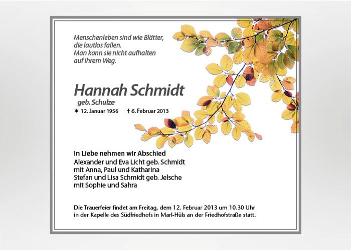 Herbstblätter - Traueranzeige Motiv F-37