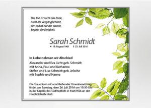 Zweige mit grünen Blättern - Traueranzeige Motiv F-42