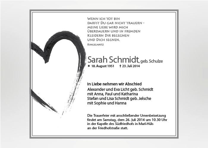 Mit Tusche gezeichnetes Herz - Traueranzeige Motiv S-08