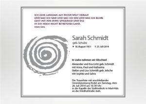 Gezeichnete Spirale - Traueranzeige Motiv S-16