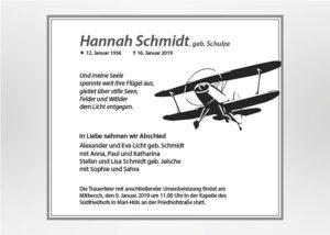 Gezeichnetes fliegendes Doppeldeckerflugzeug - Traueranzeige Motiv S-20