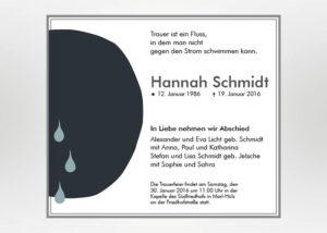 Schwarzer Kreis mit 3 Tränen - Traueranzeige Motiv S-41