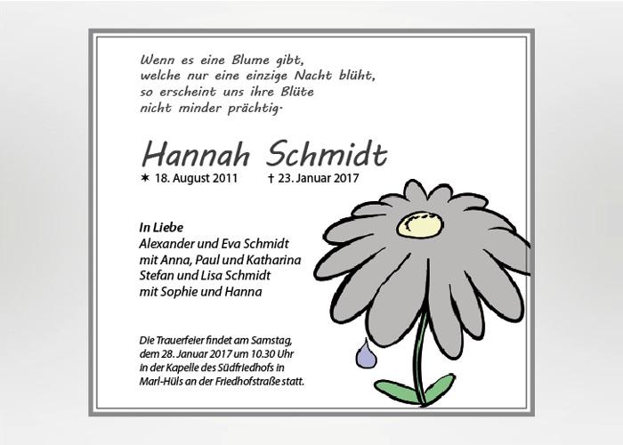 Gezeichnete Blume mit einzelner Träne - Traueranzeige Motiv S-46