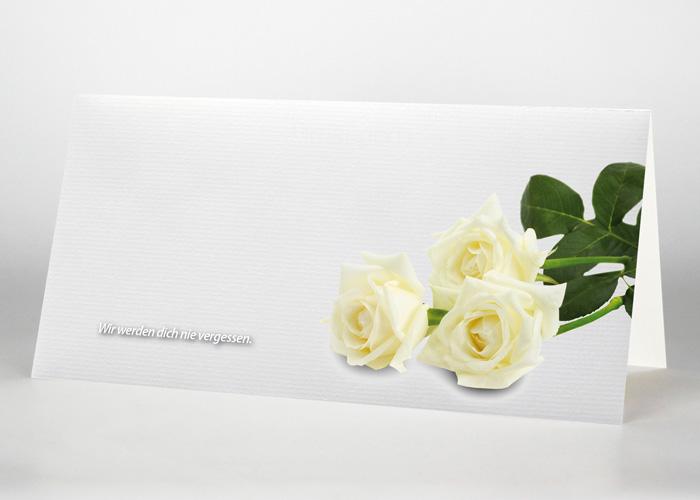 Weiße Rose - Trauerkarte Motiv B-05
