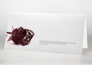 Getrocknete Rote Rose - Trauerkarte Motiv B-06