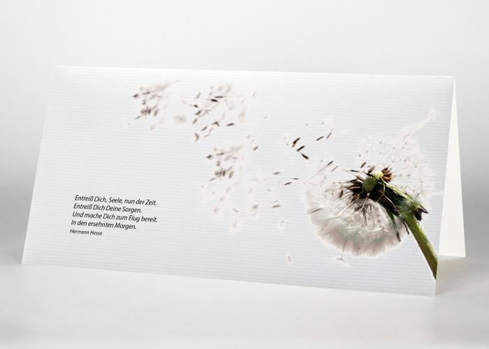 Pusteblume mit wegfliegenden Samen - Trauerkarte Motiv B-19