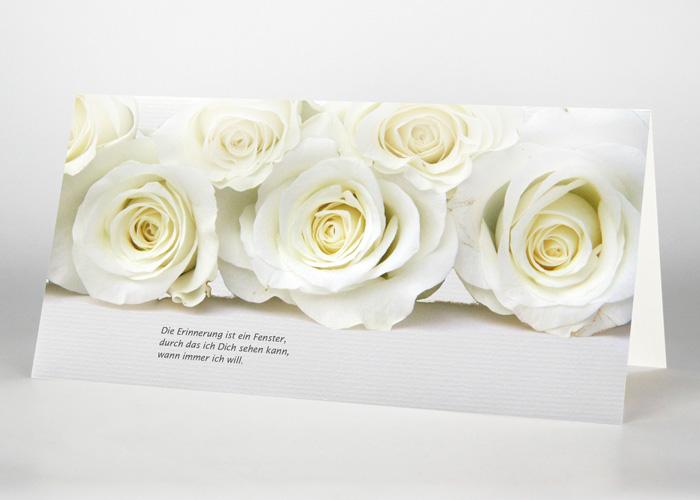 Weiße Rosen - Trauerkarte Motiv B-31
