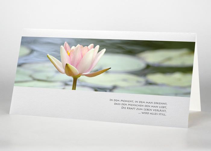 Einzelne Lotosblüte auf dem Wasser - Trauerkarte Motiv B-38