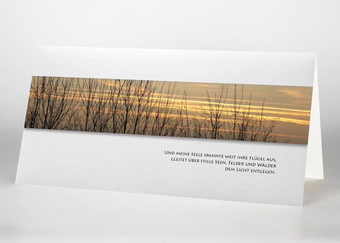 Baumspitzen ohne Blätter vor einem bunten Himmel - Trauerkarte Motiv F-04
