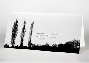 Drei einzelne Pappeln - Trauerkarte Motiv F-06