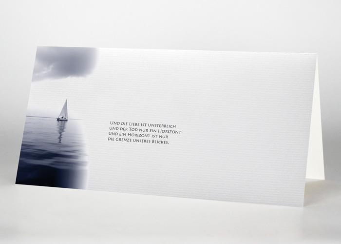 Segelboot am Horizont - Trauerkarte Motiv F-22